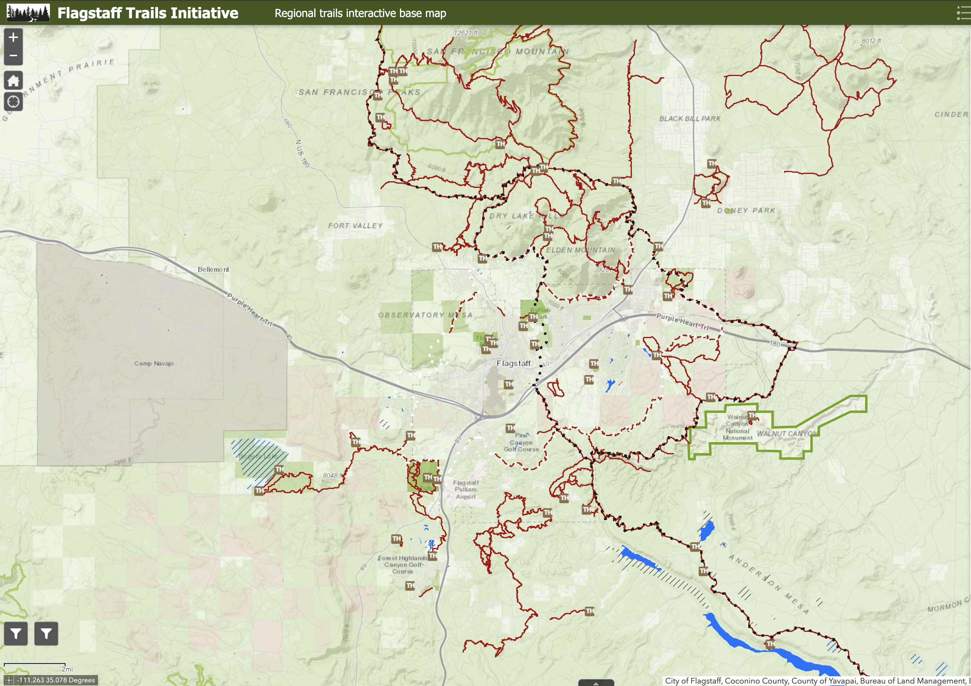 Flagstaff Trails Initiative map screenshot